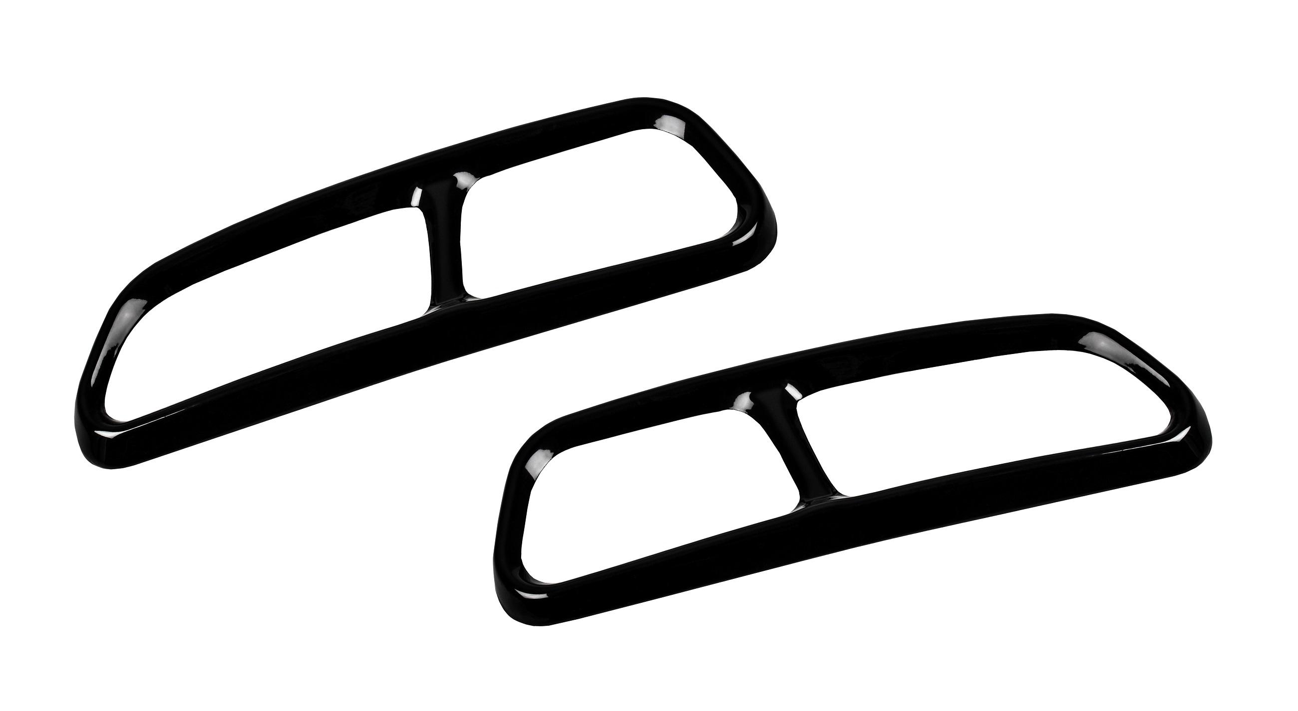 AUTOLIGHT 24 2 x Black Chrome Auspuffblenden Edelstahl Abdeckung Auspuff f/ür A6 C7 A7