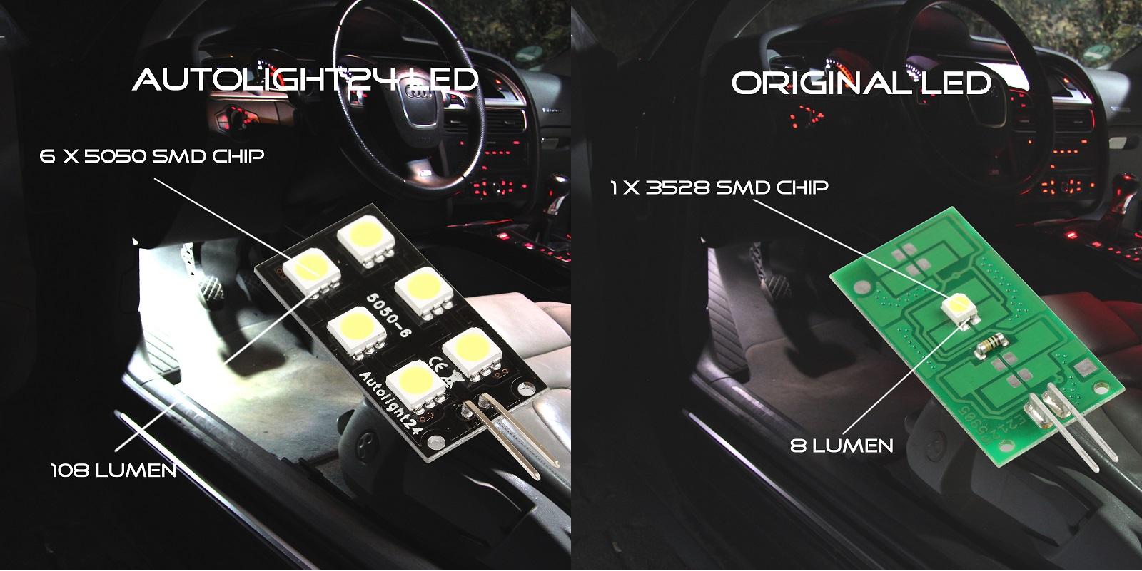 6x5050 SMD LED Modulplatine Weiß Fussraumbeleuchtung für Audi A6 C7